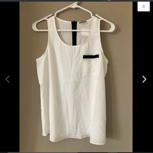 Black White Sleeveless Contrast Trim Top Blouse S